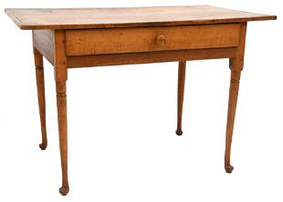 Queen Anne Maple Tavern Table with One Drawer