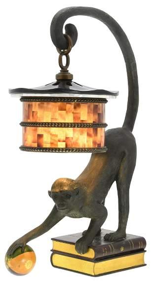 Maitland-Smith Bronze Monkey Lamp