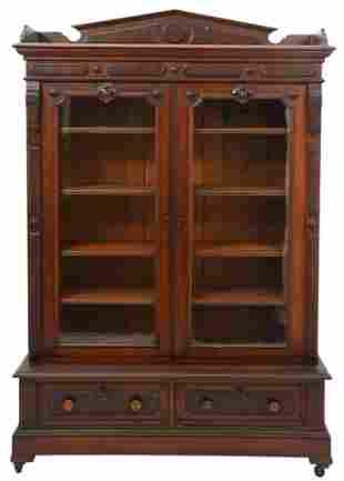 American Victorian Walnut Two-Door Bookcase