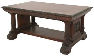 American Carved Mahogany Library Table