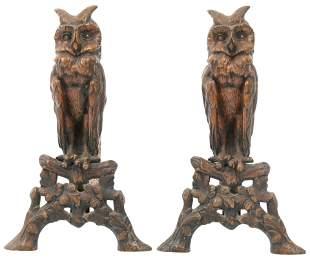 Pair of Patinated Bronze Owl Andirons