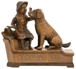 """J. & E. Stevens """"Speaking Dog"""" Mechanical Bank"""