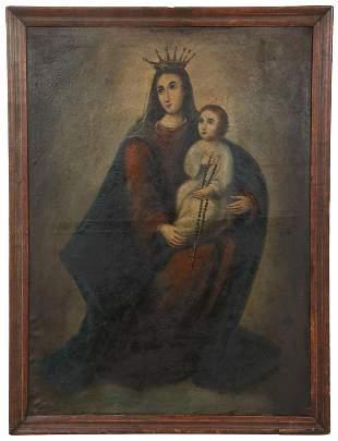 19th Century Spanish School, Madonna and Child
