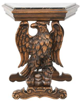 American Carved Walnut Marble Top Side Table