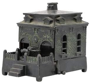 Dog on Turntable Cast Iron Mechanical Bank