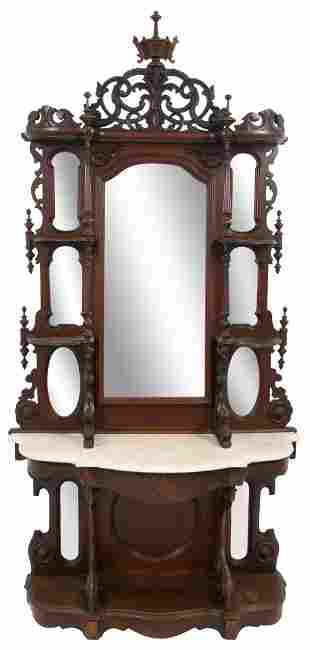 American Carved Walnut Marble Top Etagere