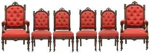Set of Six Louis XVI Style Walnut Chairs