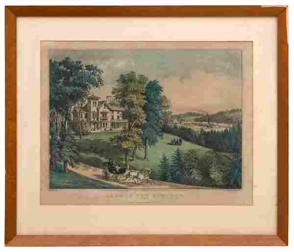"""Currier & Ives """"Life in the Country"""" Lithograph"""