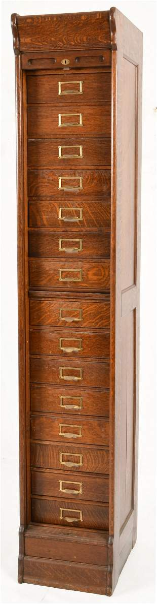 American Carved Oak Roll Top File Cabinet