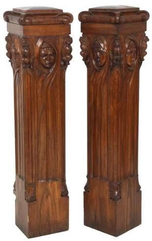 Pair of American Carved Oak Newel Posts