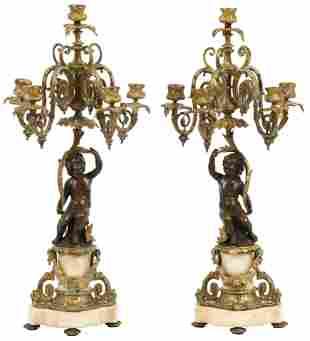 Pair of Louis XV Style Bronze & Marble Candelabra