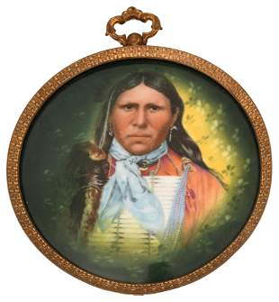 Porcelain Plaque of an Indian Chief