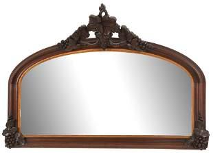 American Rococo Revival Walnut Overmantel Mirror