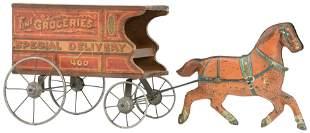 Gibbs Mfg. Co. Horse-Drawn Grocery Wagon Toy
