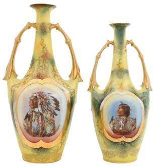 Two Royal Saxe Porcelain Indian Vases