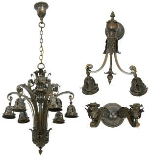 French Bronze Chandelier & Two Sconces