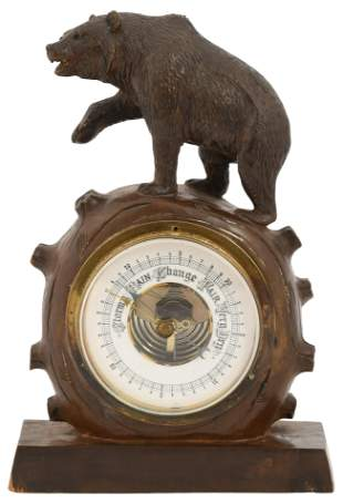 Black Forest Carved Bear Barometer