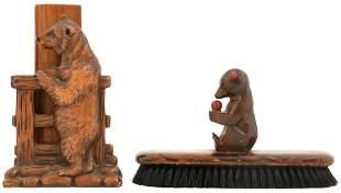 Black Forest Carved Brush Holder & Shoeshine Brush