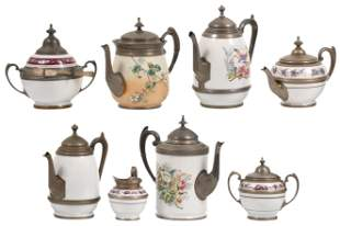 Group of Eight Enamel & Pewter Items