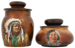 Two Limoges Porcelain Indian Humidors