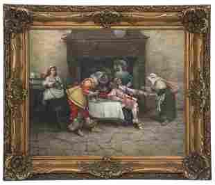 19th Century Interior Tavern Scene, Oil on Canvas