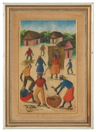 Haitian Village Scene, Oil on Board