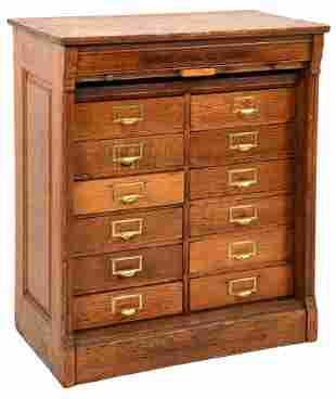 Brooks Oak Letter File Cabinet with Tambour Front