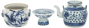 Group of Three Asian Blue & White Porcelain Items