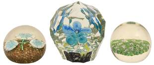 Group of Three Floral Decorated Paperweights