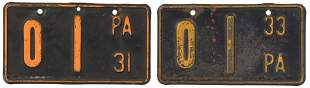 1931 & 1933 Pennsylvania Motorcycle License Plates