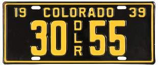 1939 Colorado License Plate, Unused
