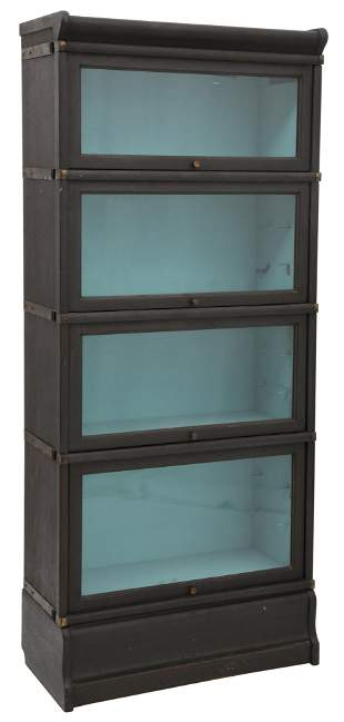 American Oak Four-Section Barrister Bookcase