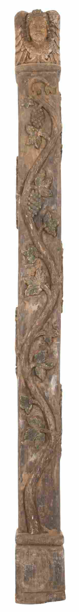 19th Century Carved Wood Pillar