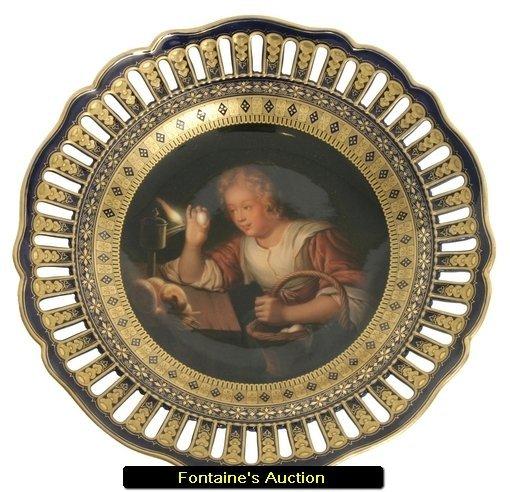 21: Meissen Hand Painted Porcelain Portrait Plate, Afte