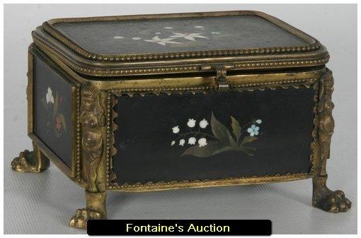 167: French Bronze & Pietra Dura Jewelry Casket