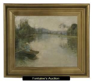 250: Attr. Alfred Sisley - Pond Scene on Canvas (1839-1