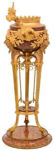 French Gilt Bronze & Rouge Marble Jardiniere