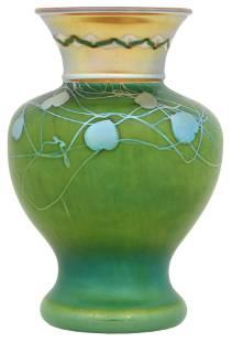 """Steuben """"Leaf & Vine"""" Decorated Vase"""