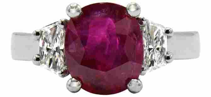 Platinum, 2.85 Carat Ruby & Diamond Ring