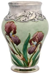 Sevres Silver Overlay Porcelain Vase