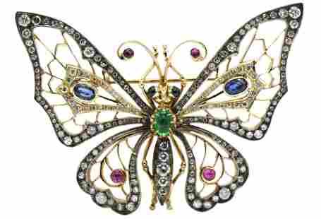 14 Karat Gold, Diamond, Sapphire, Ruby & Emerald Brooch