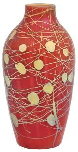 """Steuben Aurene Glass """"Leaf & Vine"""" Vase"""
