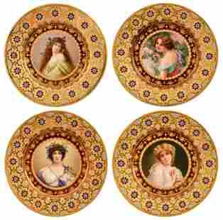 Four KPM Porcelain & Enamel Portrait Plates