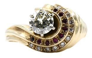 14 Karat Gold, Diamond & Ruby Ring