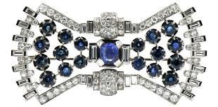 Platinum, Diamond & Sapphire Brooch