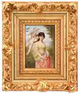 German Porcelain Plaque of a Woman & Cherub,