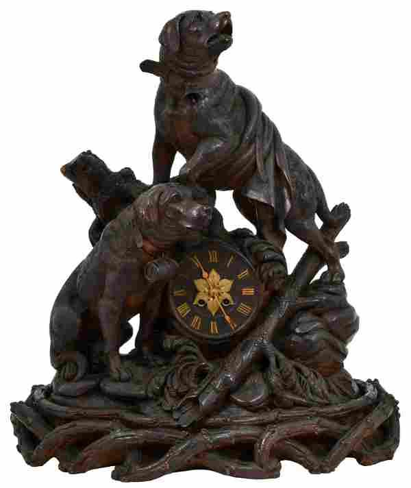 Black Forest Carved Clock with Saint Bernard