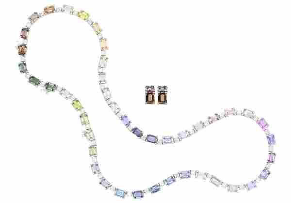 18 Karat White Gold, Diamond, & Sapphire Necklace and