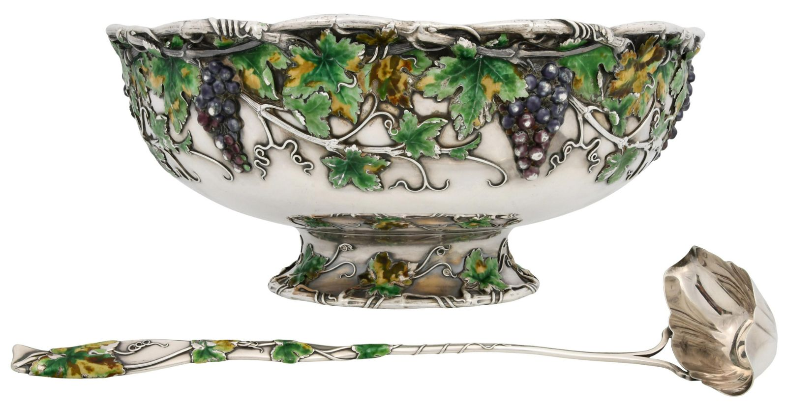 Whiting Mfg. Co. Sterling Silver & Enamel Punch Bowl &