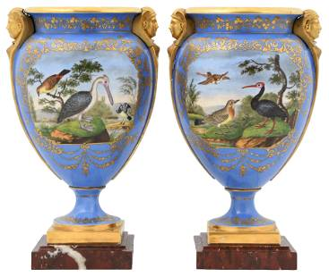 Pair of French Porcelain Urns